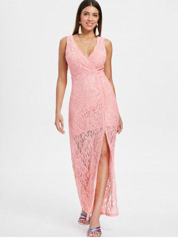 Sleeveless Maxi Lace Surplice Dress
