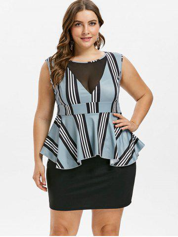 Plus Size Striped Peplum Dress