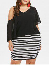Plus Size Striped Blouson Dress -