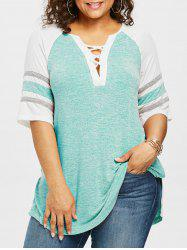 Plus Size Marled Deep V Cut T-shirt -