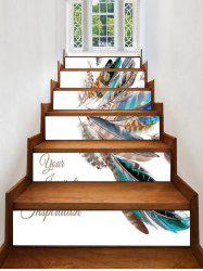 Feather Printed Decorative Stair Stickers -