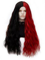 Center Parting Two Tone Long Natural Wavy Synthetic Wig -