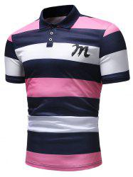 Bold Horizontal Stripe Letter Print Polo Shirt -