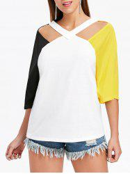 V Neck Cut Out Plain T-shirt -