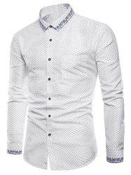 Polka Dot Print Edge Floral Pattern Casual Shirt -