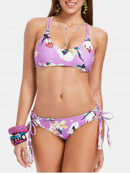 Floral Print Back Criss Cross Bikini Set -