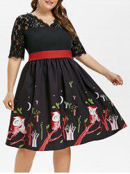 Plus Size Owls Print Lace Insert Dress -