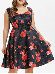 Plus Size Rose Bowknot Dress -