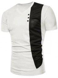 Contrast Fabric Splicing Button Decor Short Sleeve T-shirt -