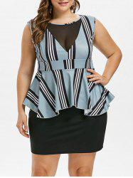 Plus Size Striped Peplum Dress -