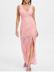 Sleeveless Maxi Lace Surplice Dress -