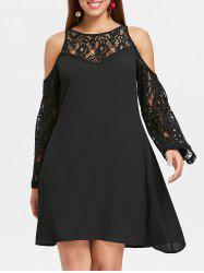 Lace Panel Cold Shoulder Long Sleeve Dress -