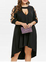 Criss Cross Sleeve Plus Size Cut Out Mid Calf Dress -
