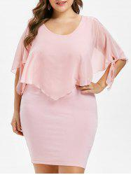 Scoop Neck Plus Size Overlay Dress -