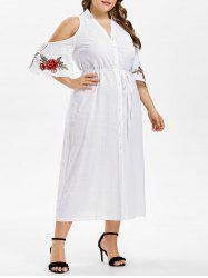 Plus Size Bell Sleeve Embroidery Shirt Dress -