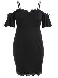 Plus Size Cold Shoulder Bell Sleeve Sheath Dress -