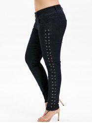Plus Size Lace Up Three Button Jeans -