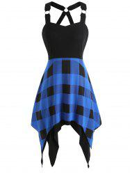 Asymmetrical Tartan Print Insert Dress -