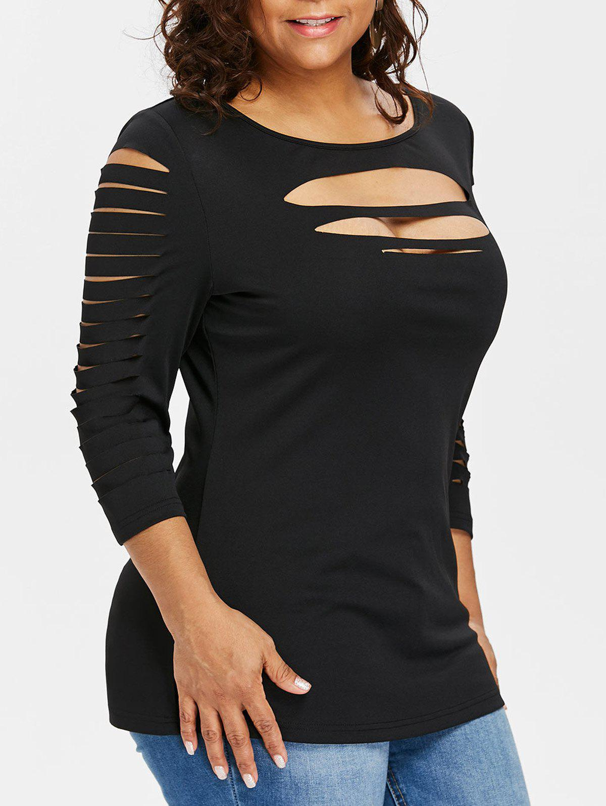 Shop Plus Size Three Quarter Sleeve Ripped T-shirt