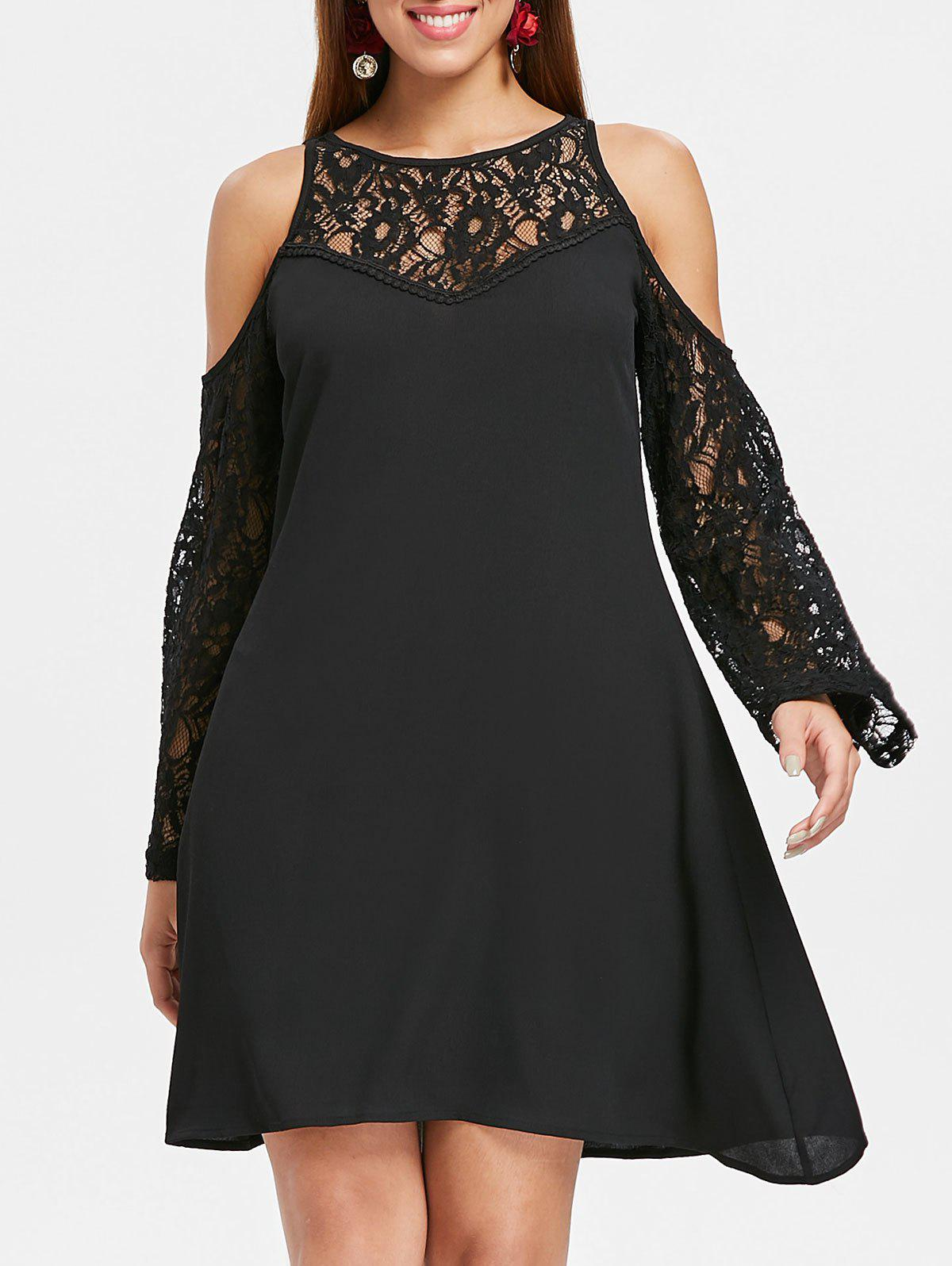 Outfits Lace Panel Cold Shoulder Long Sleeve Dress