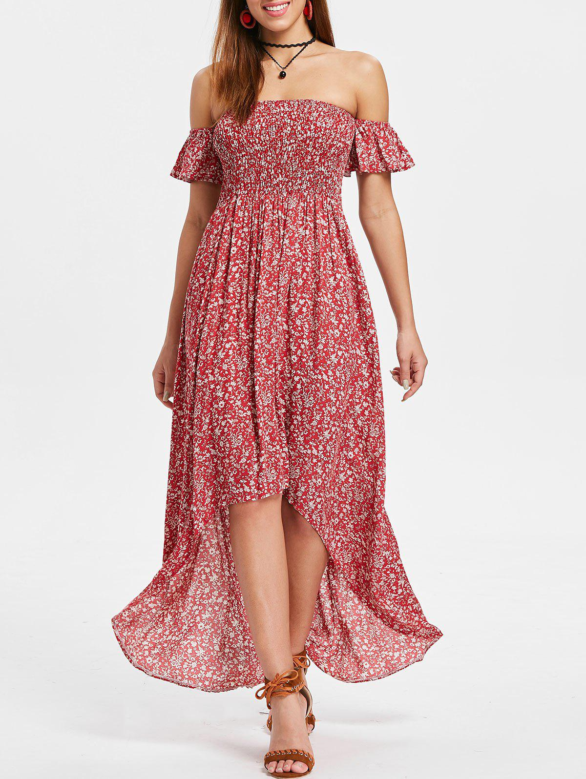 Outfit Off The Shoulder Tiny Floral Maxi Dress