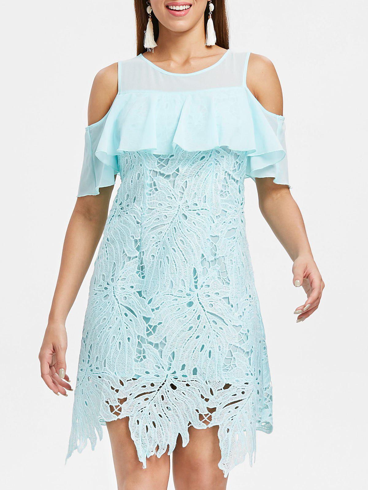 Online Cold Shoulder Crochet Leaf Lace Dress