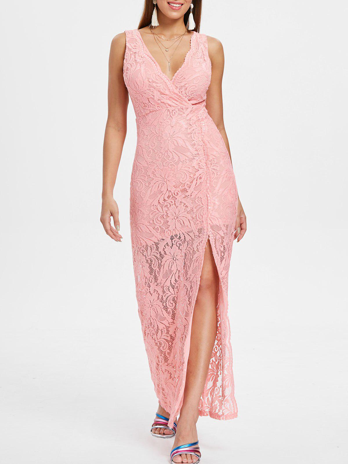 Affordable Sleeveless Maxi Lace Surplice Dress