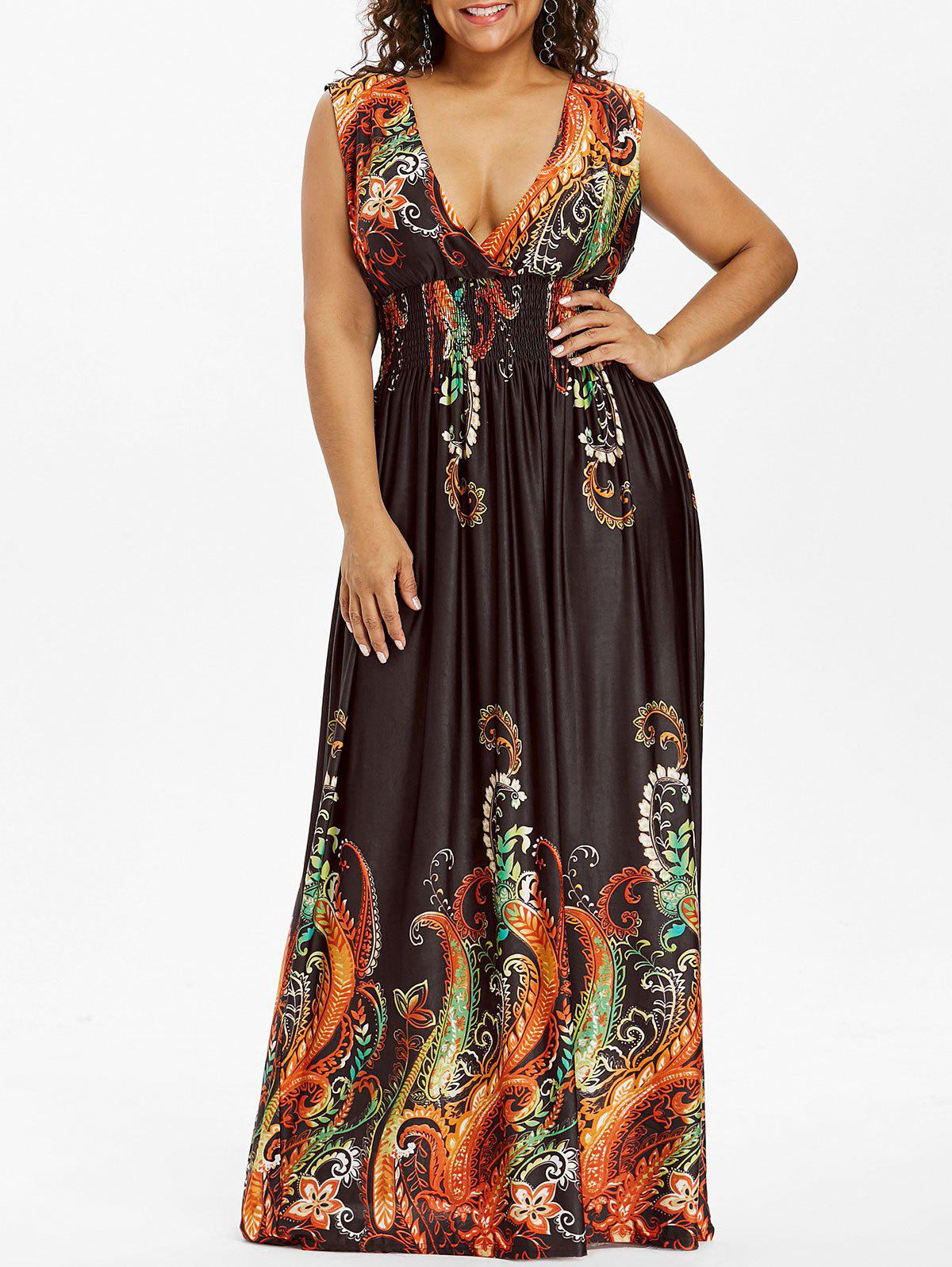 Outfit Paisley Plunge Maxi Evening Dress for Plus Size