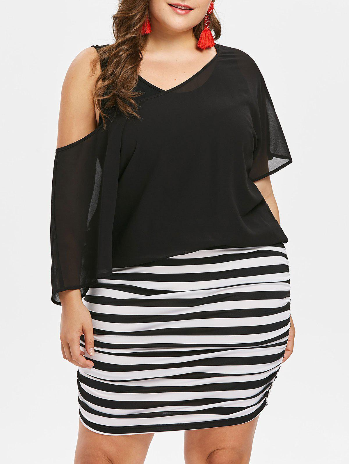 Affordable Plus Size Striped Blouson Dress