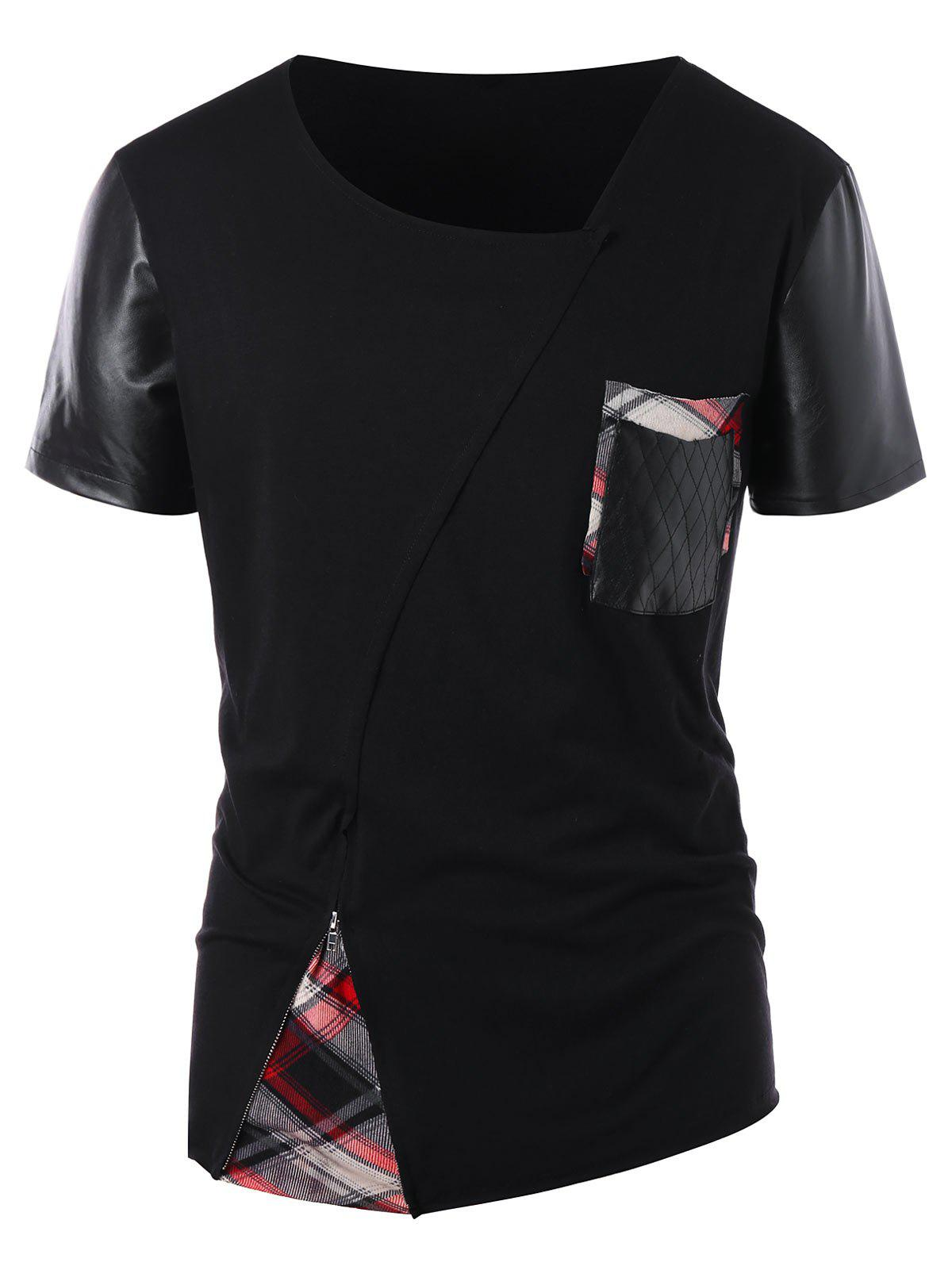 Outfits Zip Embellished PU Leather Panel T-shirt