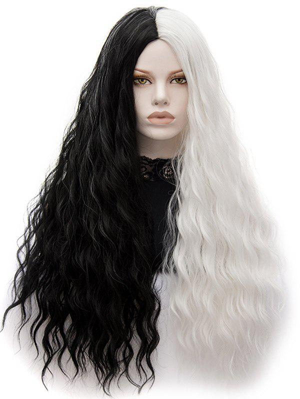Fancy Long Center Parting Natural Wavy Colormix Synthetic Wig