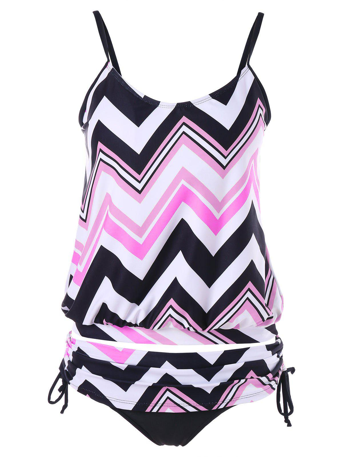 Shop Zigzag Ruched Blouson Tankini Set