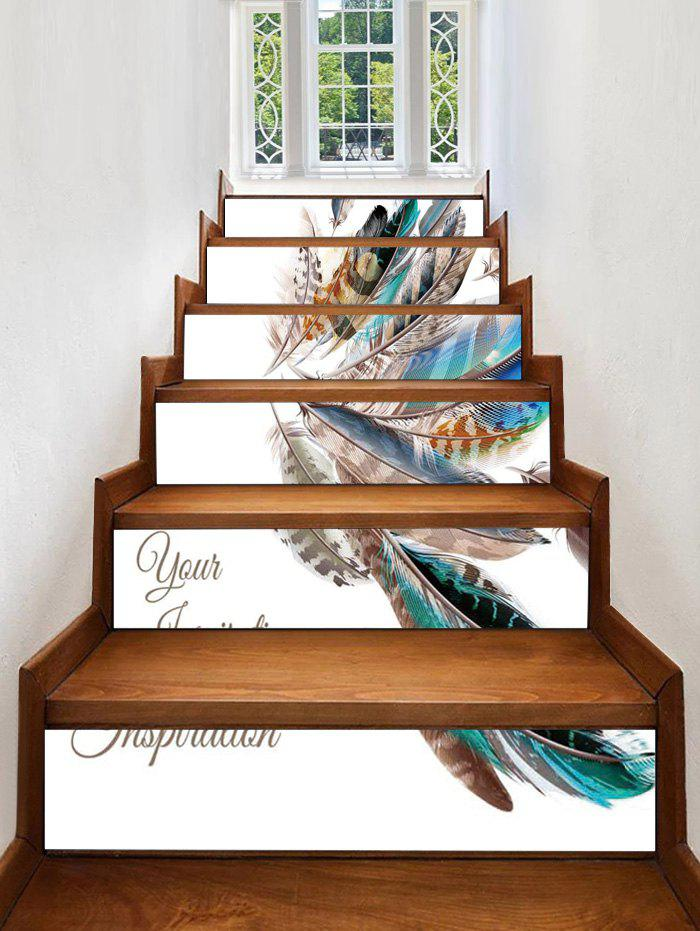 Fashion Feather Printed Decorative Stair Stickers