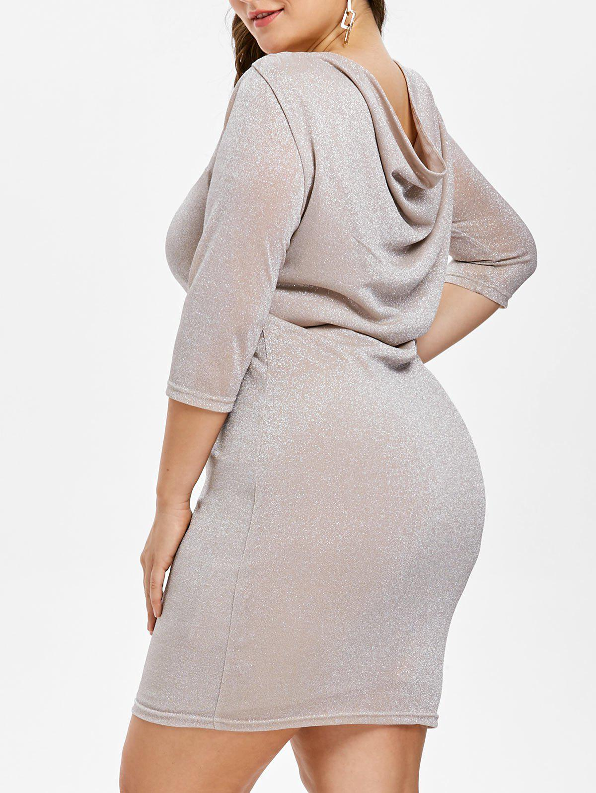 Plus Size Sparkly Cowl Back Bodycon Dress