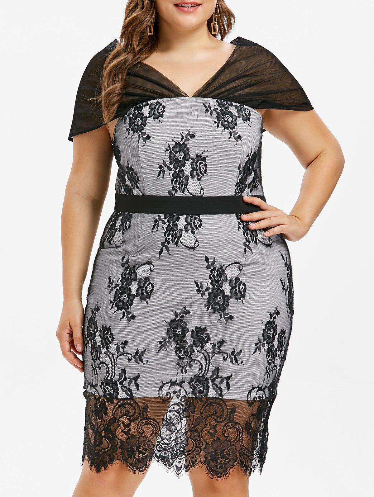 Fashion Plus Size Cap Sleeve Lace Bodycon Dress