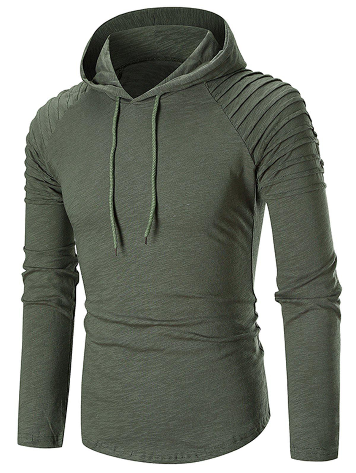 Online Pleated Solid Color Drawstring Hoodie