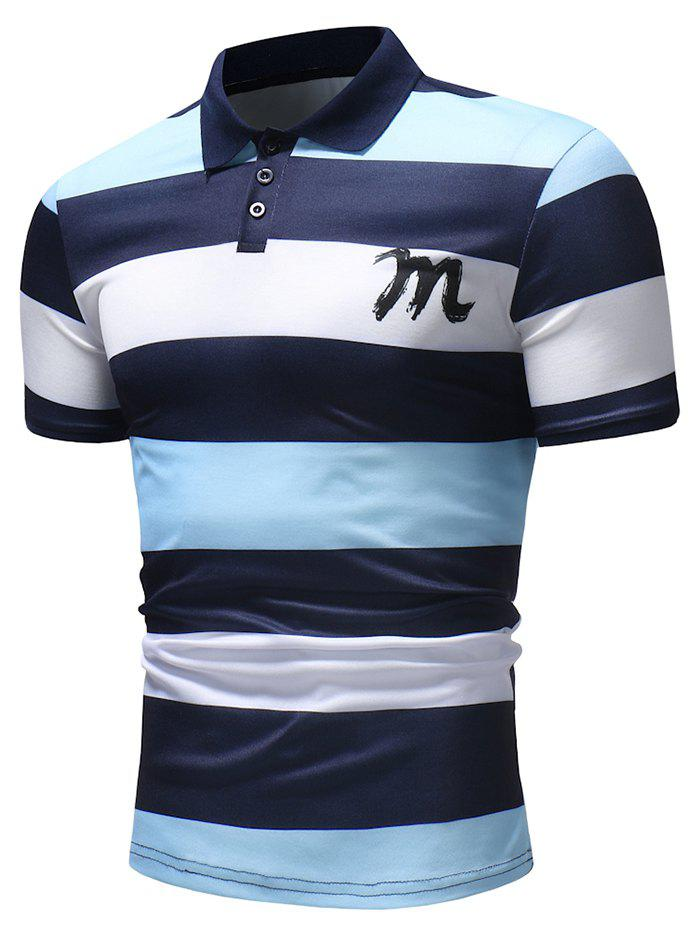 Cheap Bold Horizontal Stripe Letter Print Polo Shirt