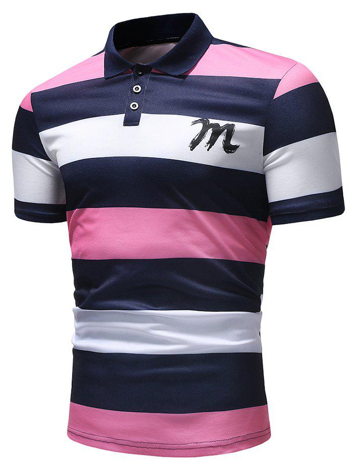 Latest Bold Horizontal Stripe Letter Print Polo Shirt