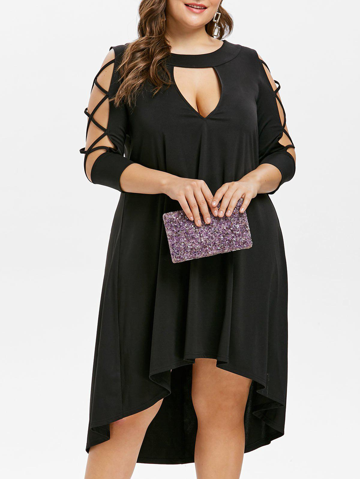Trendy Criss Cross Sleeve Plus Size Cut Out Mid Calf Dress