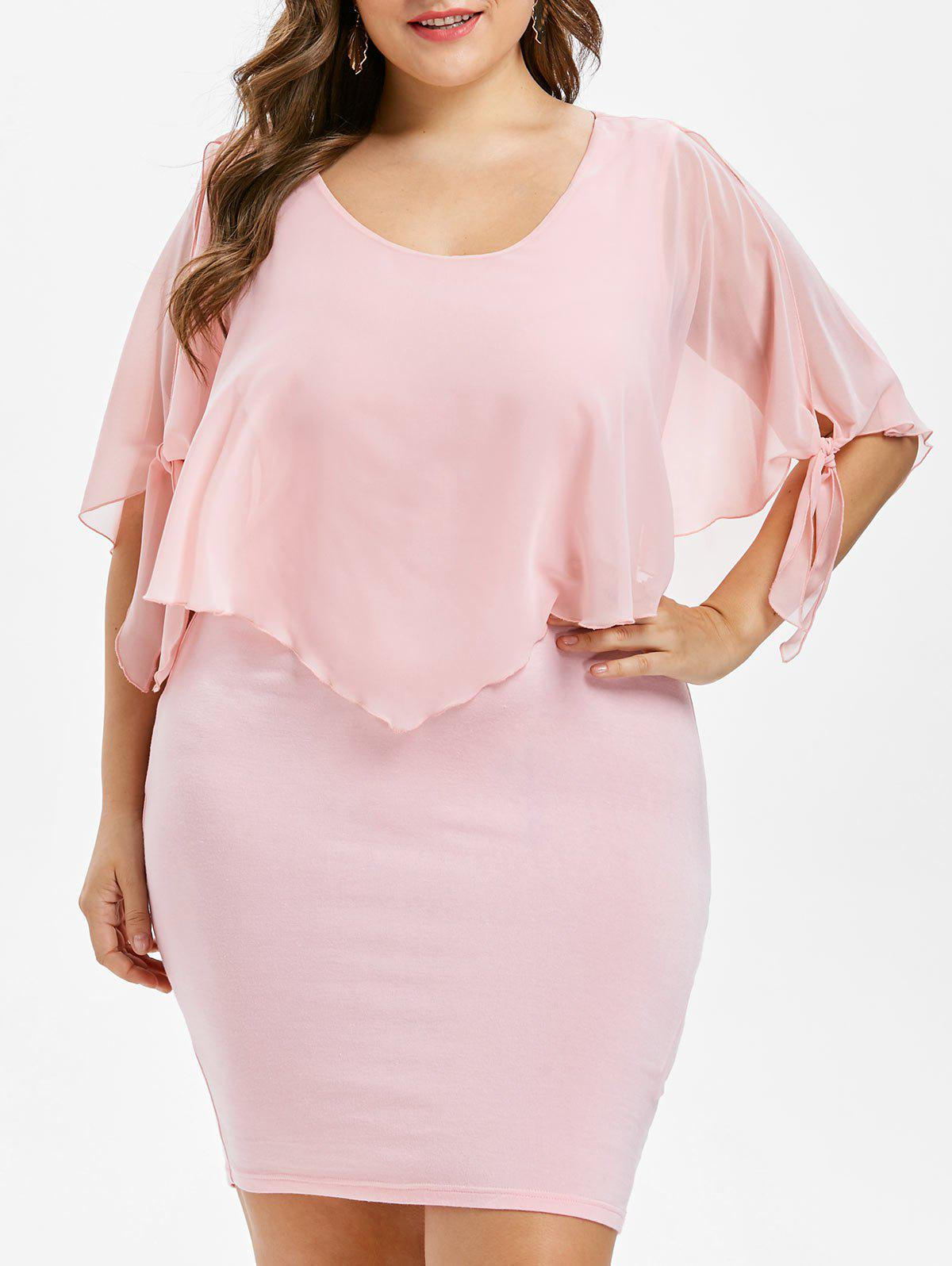 Hot Scoop Neck Plus Size Overlay Dress