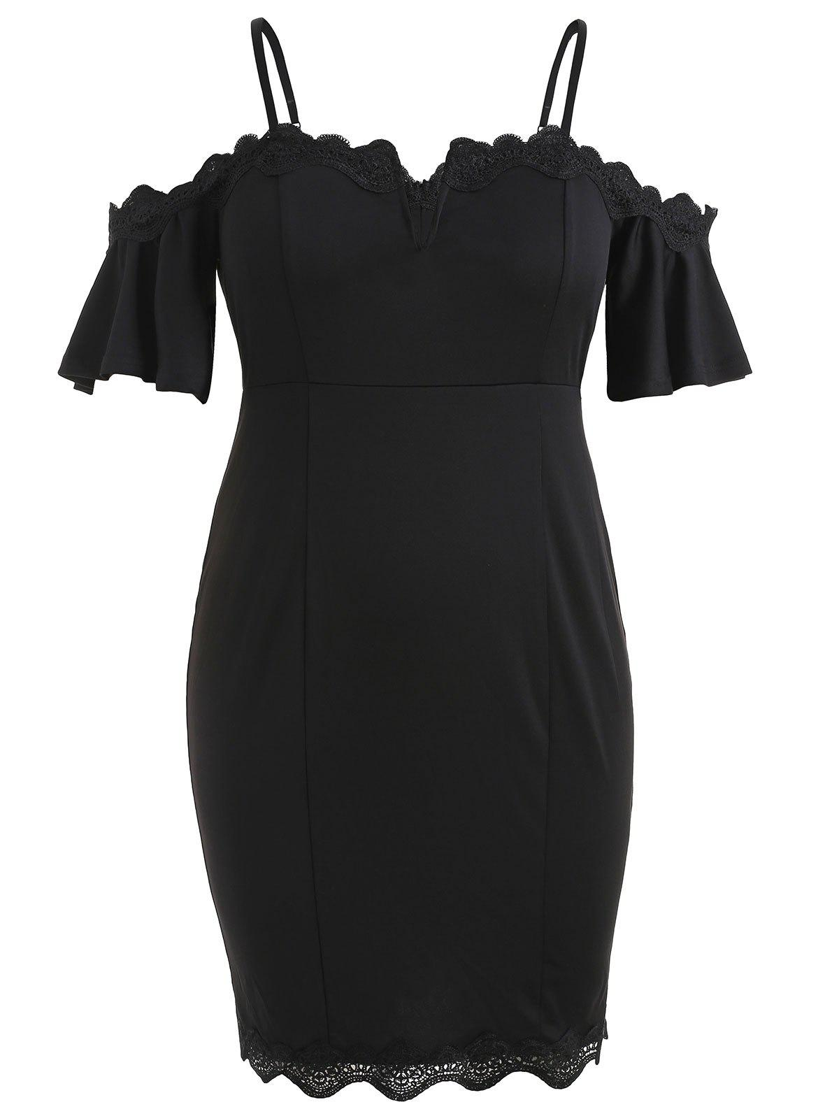 Trendy Plus Size Cold Shoulder Bell Sleeve Sheath Dress