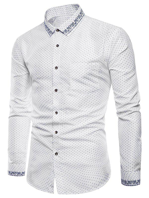 Cheap Polka Dot Print Edge Floral Pattern Casual Shirt