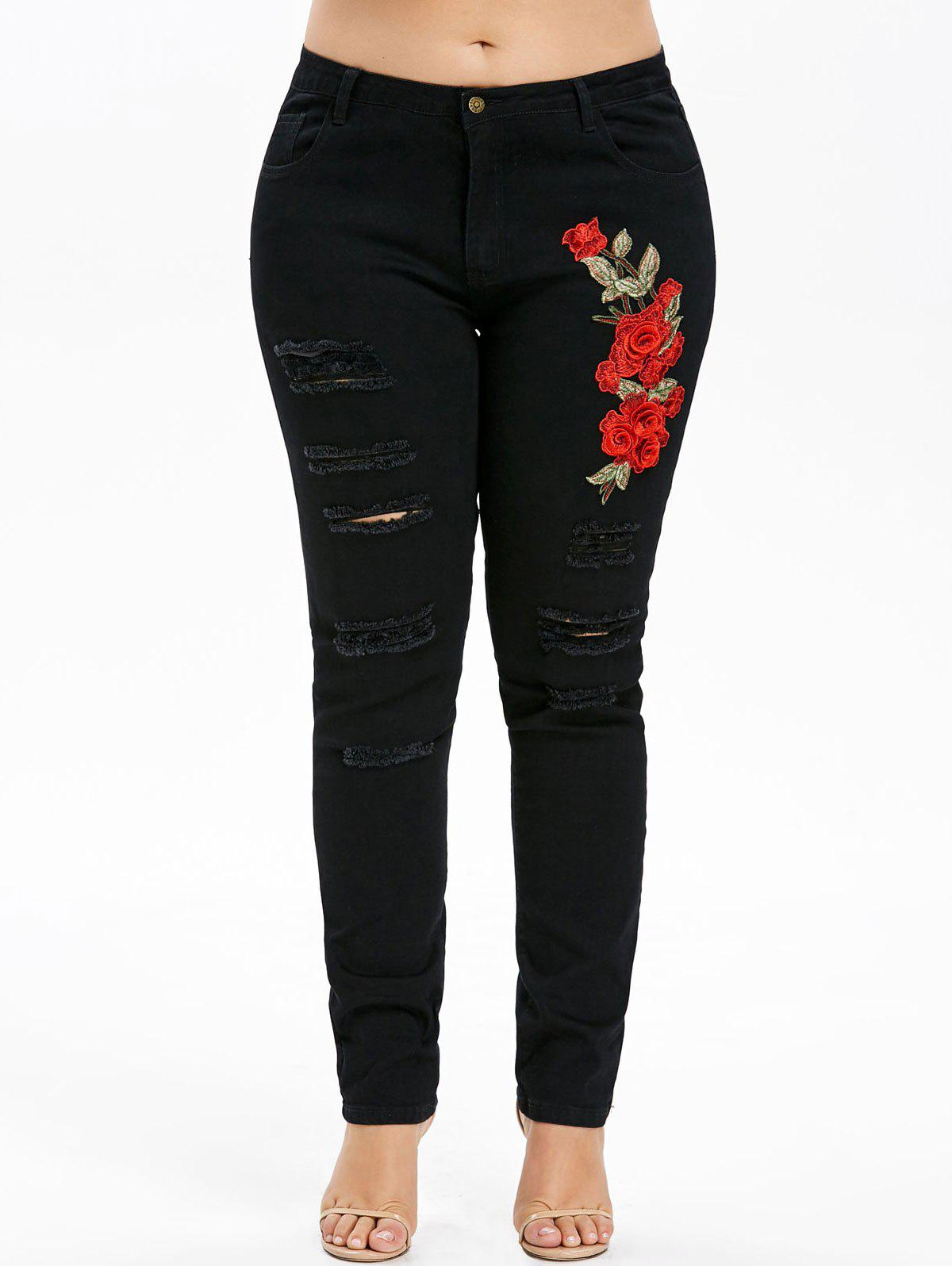 Buy Plus Size Shredded Embroidery Applique Jeans