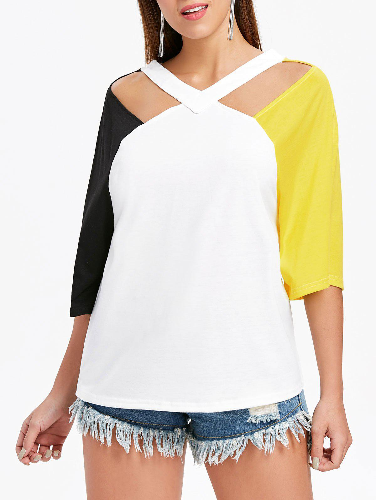 Sale V Neck Cut Out Plain T-shirt
