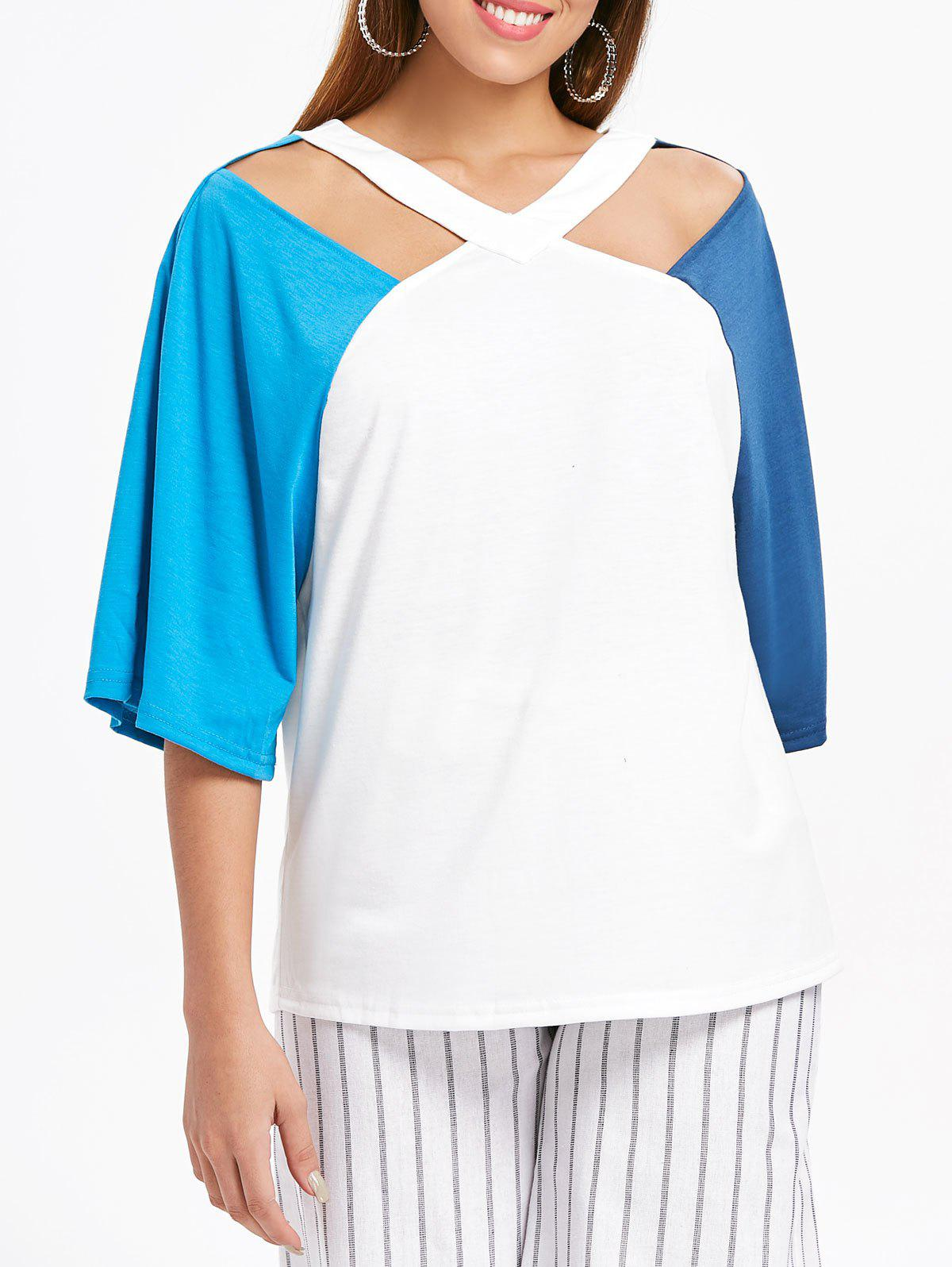 Fancy V Neck Cut Out Plain T-shirt