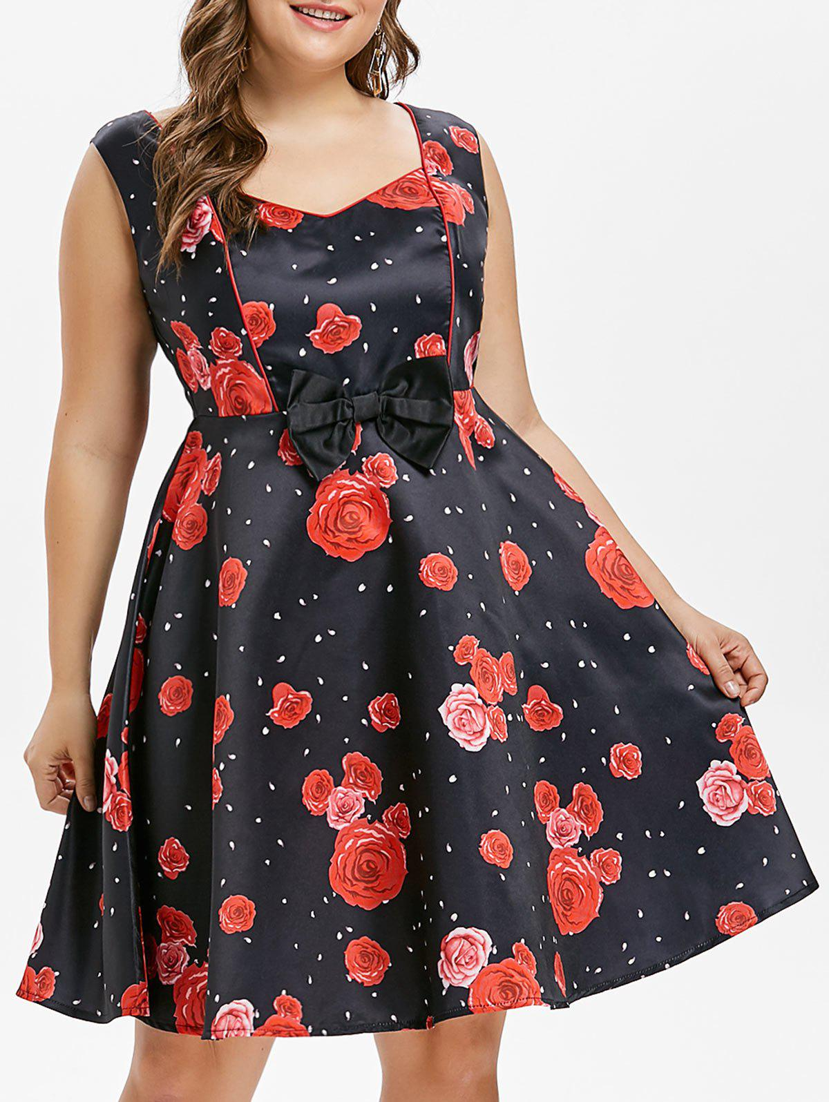 Buy Plus Size Rose Bowknot Dress