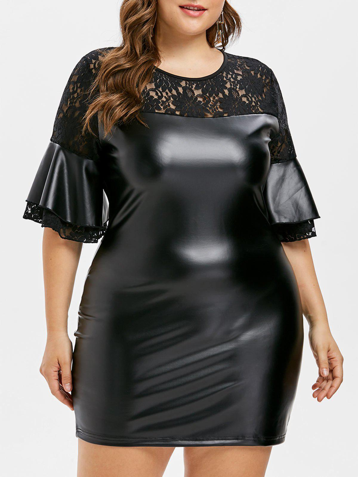 35% OFF] Plus Size Faux Leather Lace Insert Dress | Rosegal