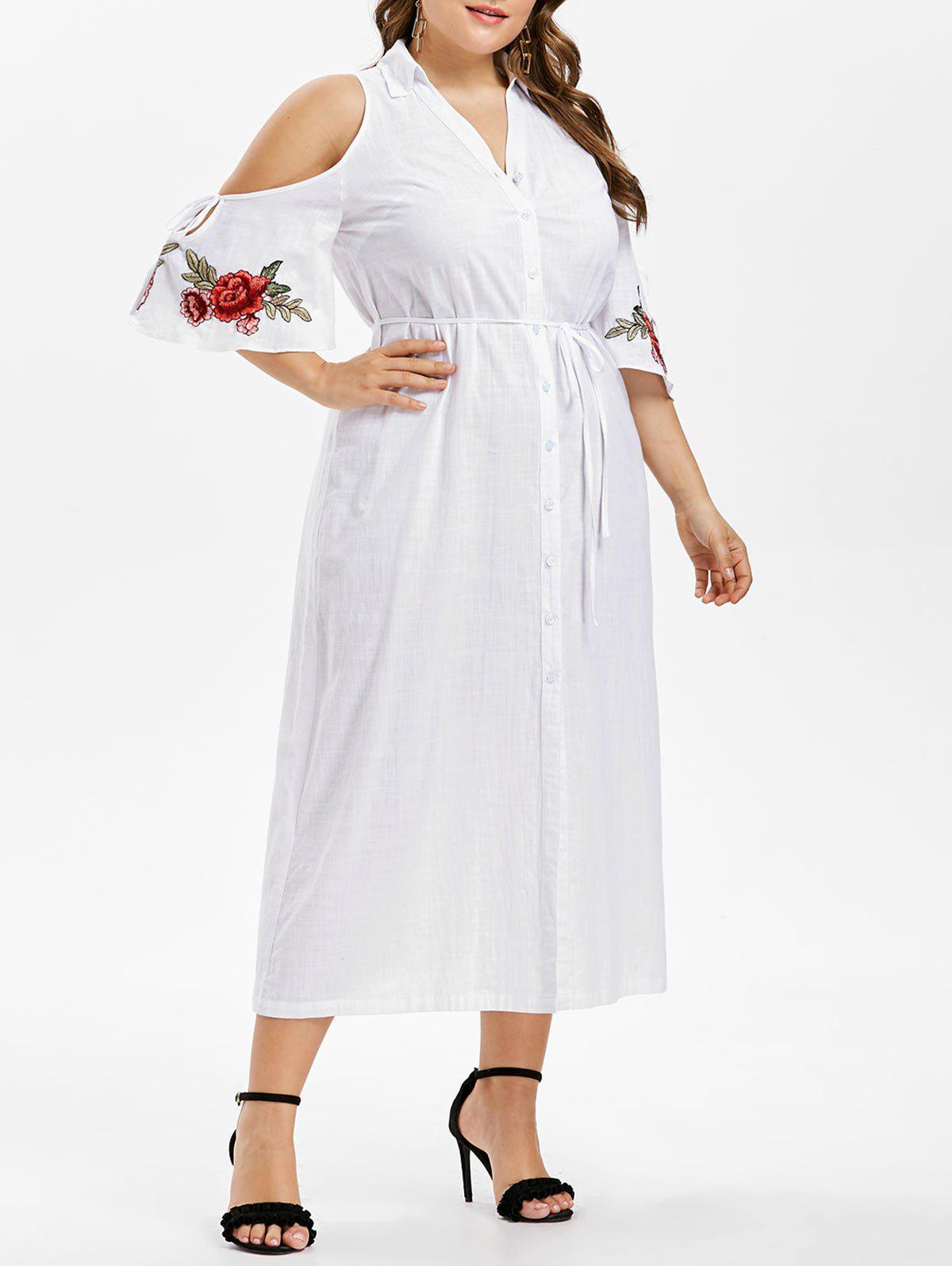 Sale Plus Size Bell Sleeve Embroidery Shirt Dress