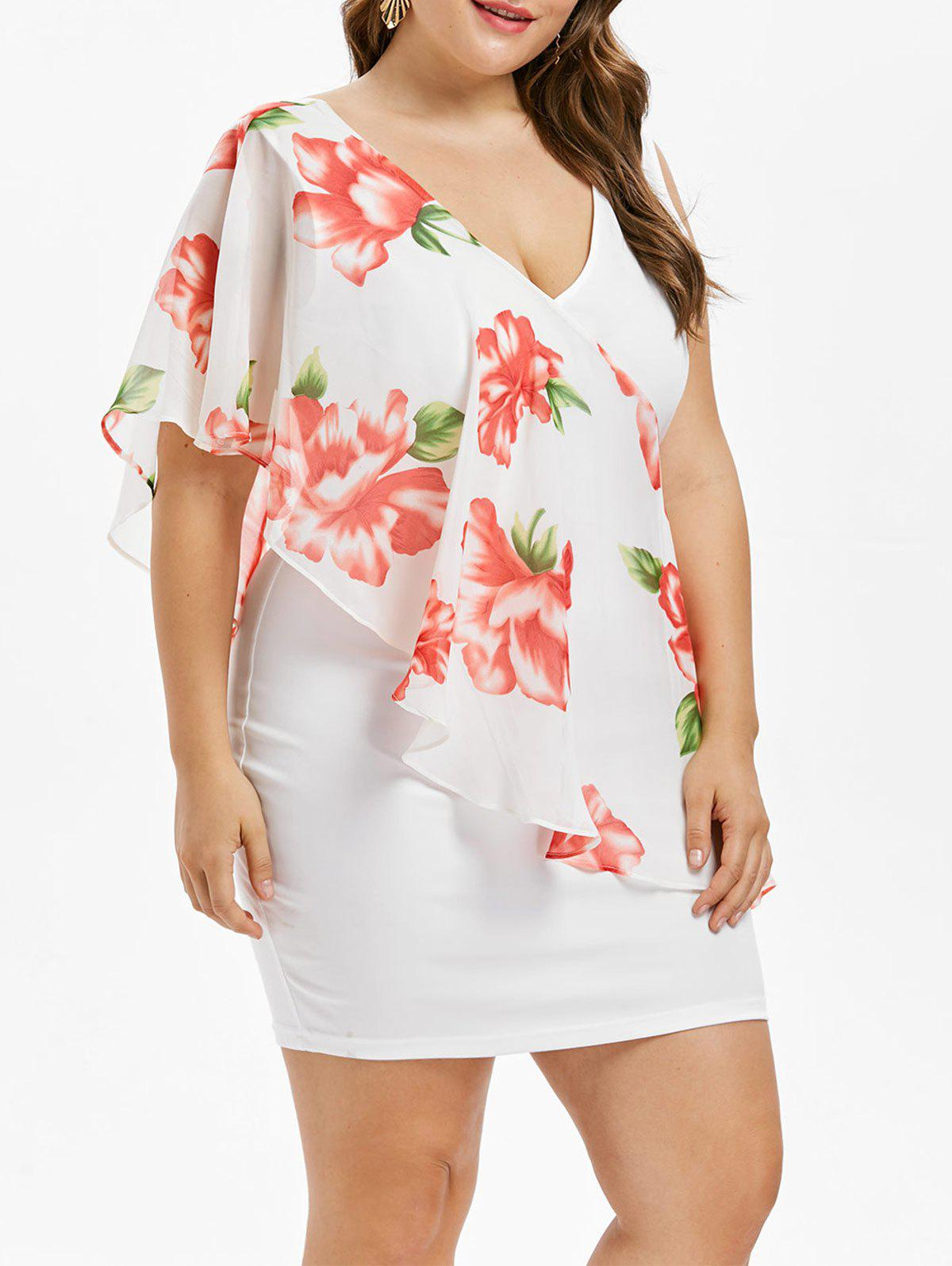 Discount Plus Size Floral Chiffon Overlay Dress