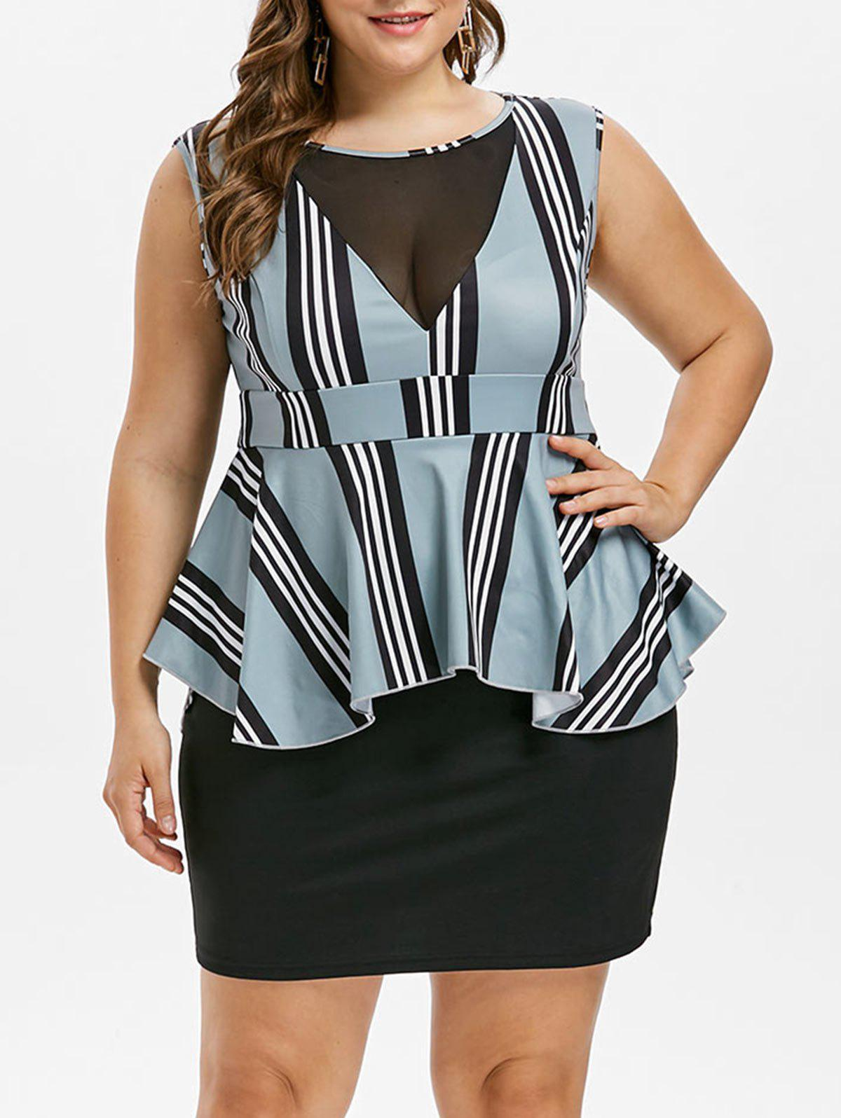 Affordable Plus Size Striped Peplum Dress